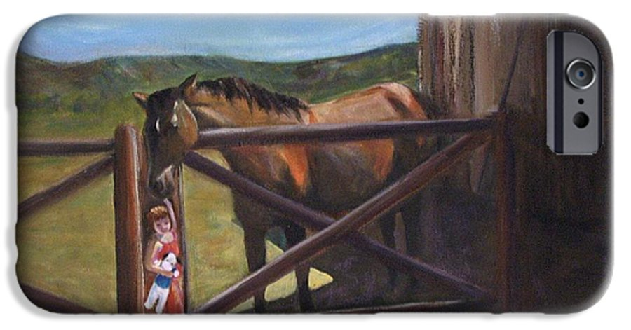 Horse IPhone 6 Case featuring the painting First Love by Darla Joy Johnson
