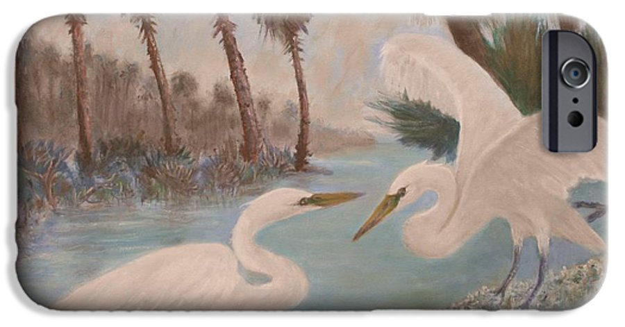 Egret IPhone 6 Case featuring the painting First Meeting by Ben Kiger