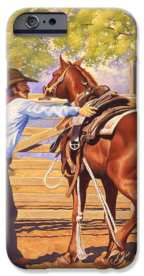 Cowboy IPhone 6 Case featuring the painting First Saddling by Howard Dubois