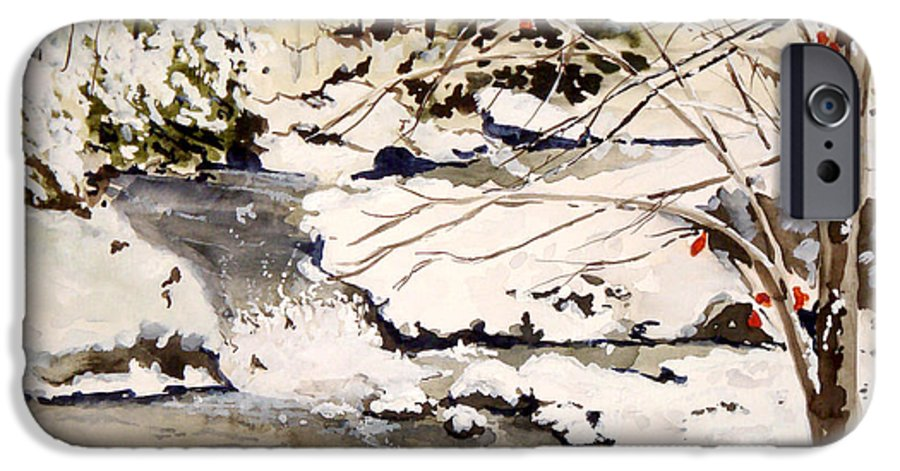 Winter Scene IPhone 6 Case featuring the painting First Snowfall by Jean Blackmer