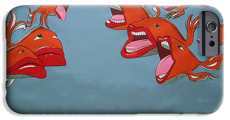 Seascape IPhone 6 Case featuring the painting Fish Fight by Patricia Van Lubeck