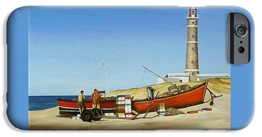 Lighthouse Fishermen Sea Seascape IPhone 6 Case featuring the painting Fishermen By Lighthouse by Natalia Tejera