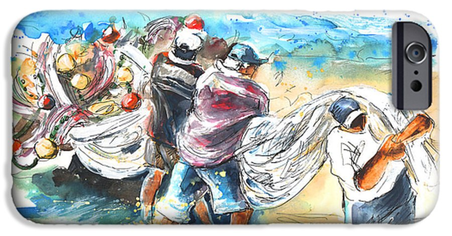 Portugal IPhone 6 Case featuring the painting Fishermen In Praia De Mira by Miki De Goodaboom