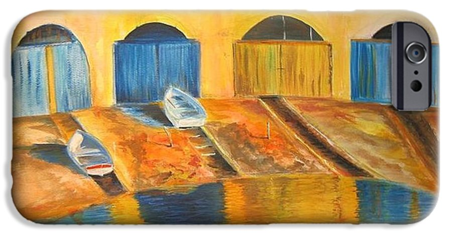 Boats IPhone 6 Case featuring the painting Fishermens Boats At Sundown by Lizzy Forrester
