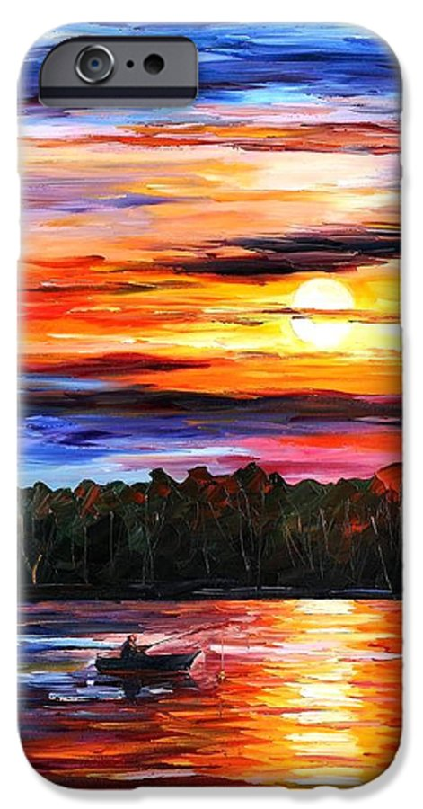 Seascape IPhone 6 Case featuring the painting Fishing By The Sunset by Leonid Afremov