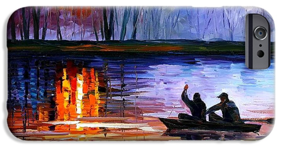 Seascape IPhone 6 Case featuring the painting Fishing On The Lake by Leonid Afremov