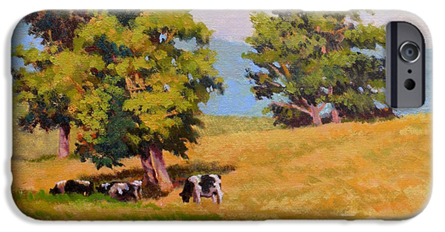 Landscape IPhone 6 Case featuring the painting Five Oaks by Keith Burgess