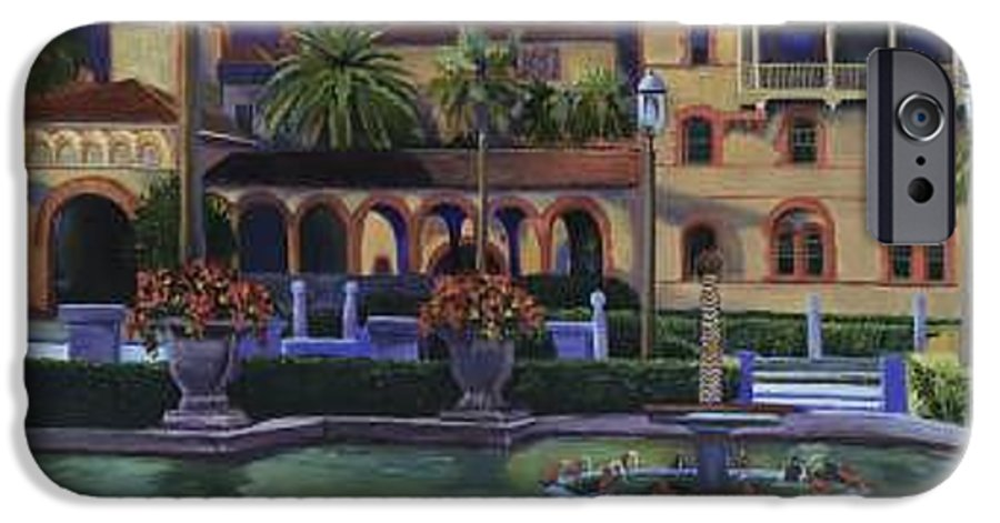 St. Augustine\'s Flagler College Campus IPhone 6 Case featuring the painting Flagler College II by Christine Cousart