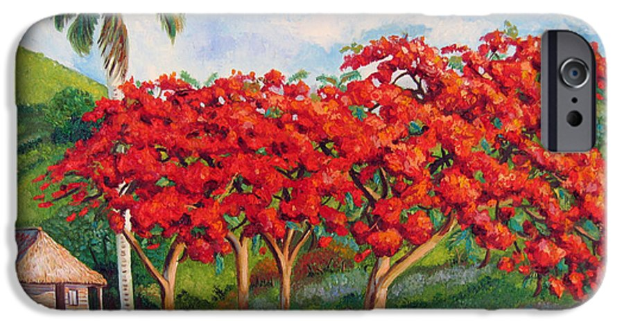 Cuban Art IPhone 6 Case featuring the painting Flamboyans by Jose Manuel Abraham