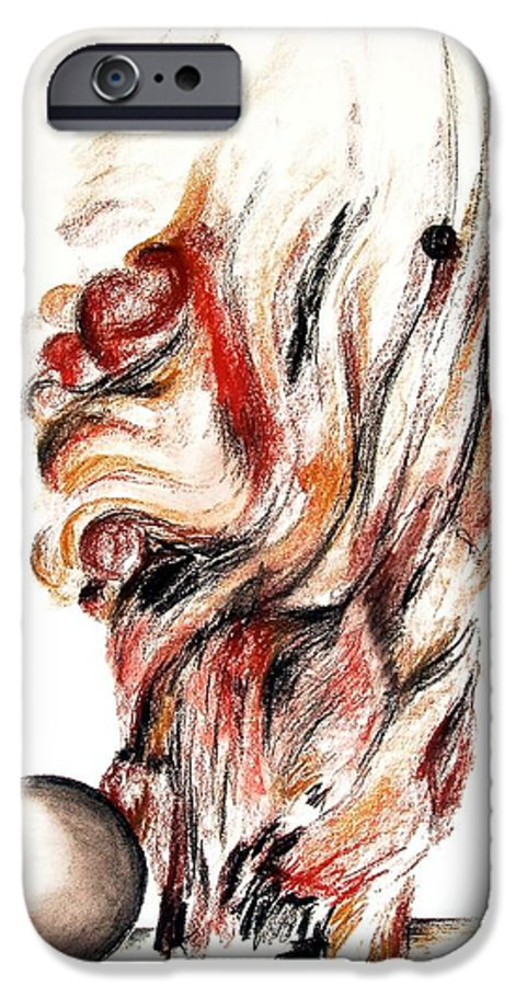 Still Life IPhone 6 Case featuring the drawing Flamme En Bois by Muriel Dolemieux