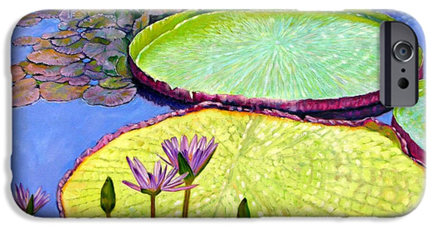 Garden Pond IPhone 6 Case featuring the painting Floating Galaxies by John Lautermilch