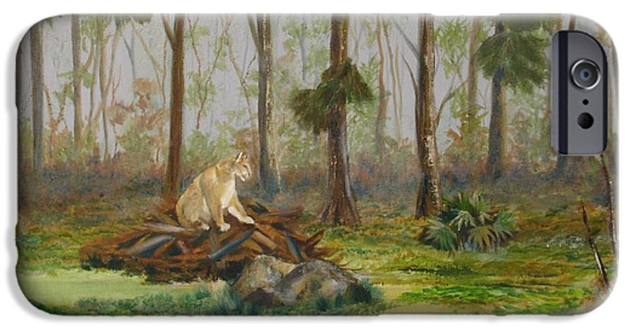 Florida IPhone 6 Case featuring the painting Florida Panther by Susan Kubes