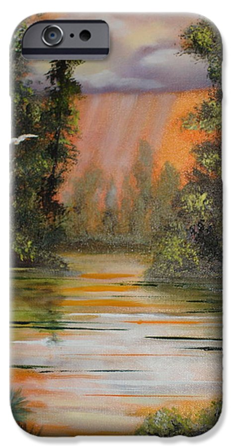 Landscape IPhone 6 Case featuring the painting Florida Thunderstorm by Susan Kubes