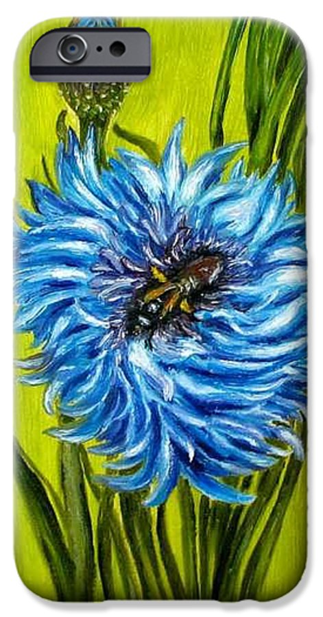 Flower IPhone 6 Case featuring the painting Flower And Bee Oil Painting by Natalja Picugina