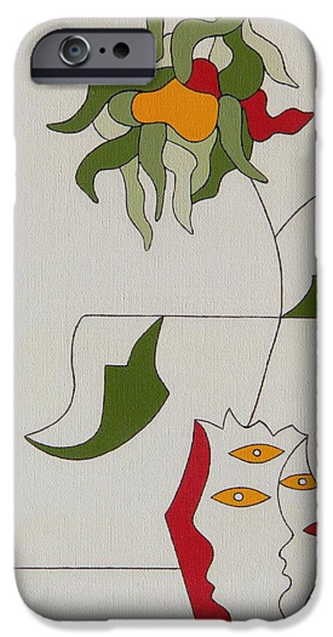 Flower Modern Constructivisme Special Original IPhone 6 Case featuring the painting Flower by Hildegarde Handsaeme