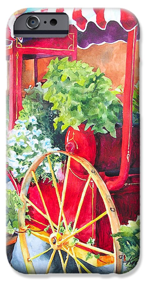 Floral IPhone 6 Case featuring the painting Flower Wagon by Karen Stark