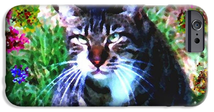 Cat Grey Attention Grass Flowers Nature Animals View IPhone 6 Case featuring the digital art Flowers And Cat by Dr Loifer Vladimir