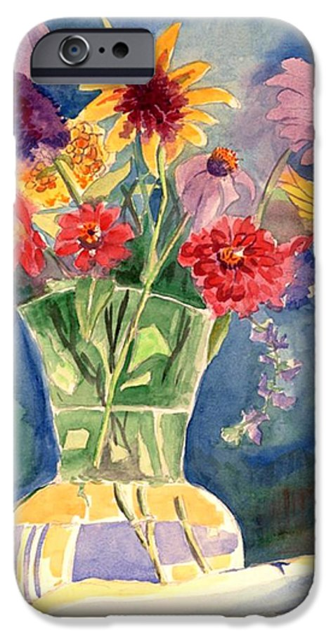 Flowers In Glass Vase IPhone 6 Case featuring the painting Flowers In Glass Vase by Judy Swerlick