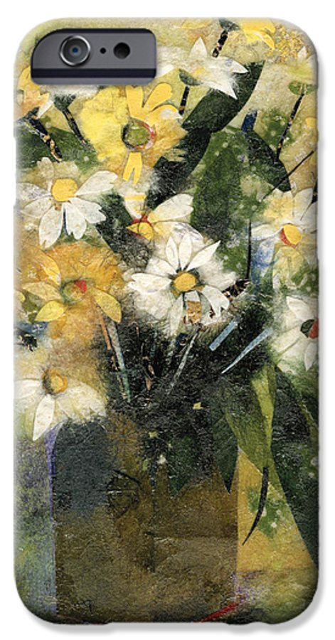 Limited Edition Prints IPhone 6 Case featuring the painting Flowers In White And Yellow by Nira Schwartz