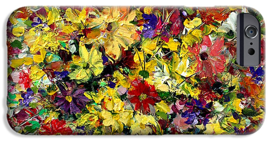 Flowers IPhone 6 Case featuring the painting Flowers by Mario Zampedroni