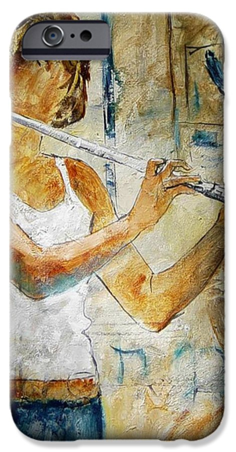 Music IPhone 6 Case featuring the painting Flutist by Pol Ledent