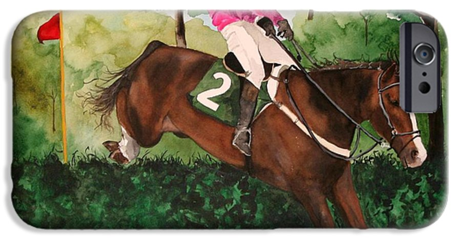 Horse IPhone 6 Case featuring the painting Flying High by Jean Blackmer
