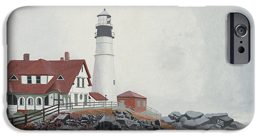 Lighthouse IPhone 6 Case featuring the painting Fog Approaching Portland Head Light by Dominic White