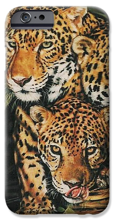Jaguar IPhone 6 Case featuring the pastel Forest Jewels by Barbara Keith
