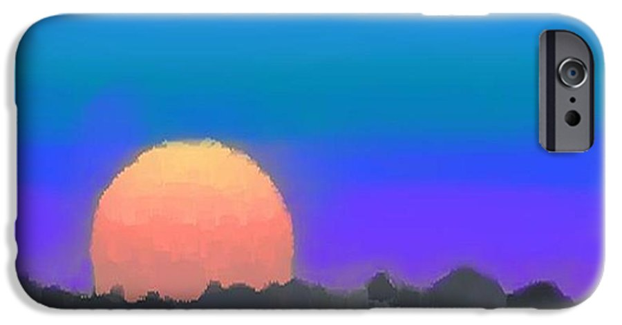 Evenung.sunset.sky.sun.background Forest.silence.rest IPhone 6 Case featuring the digital art Forest Sunset. by Dr Loifer Vladimir