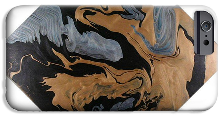Abstract IPhone 6 Case featuring the painting Fossil by Patrick Mock