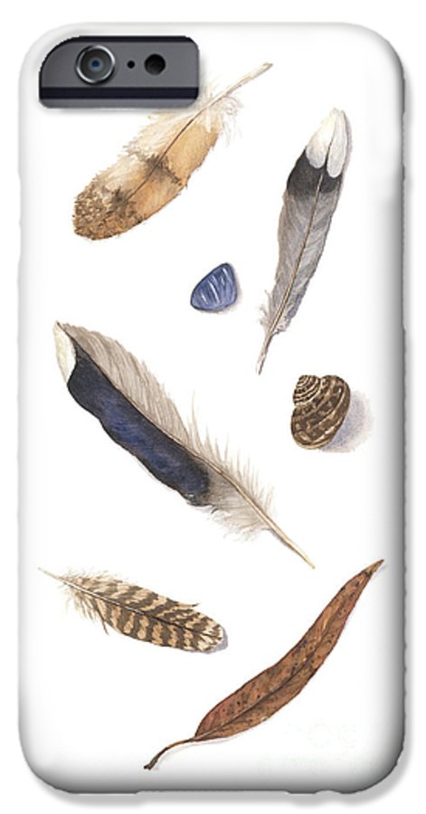 Feathers IPhone 6 Case featuring the painting Found Treasures by Lucy Arnold
