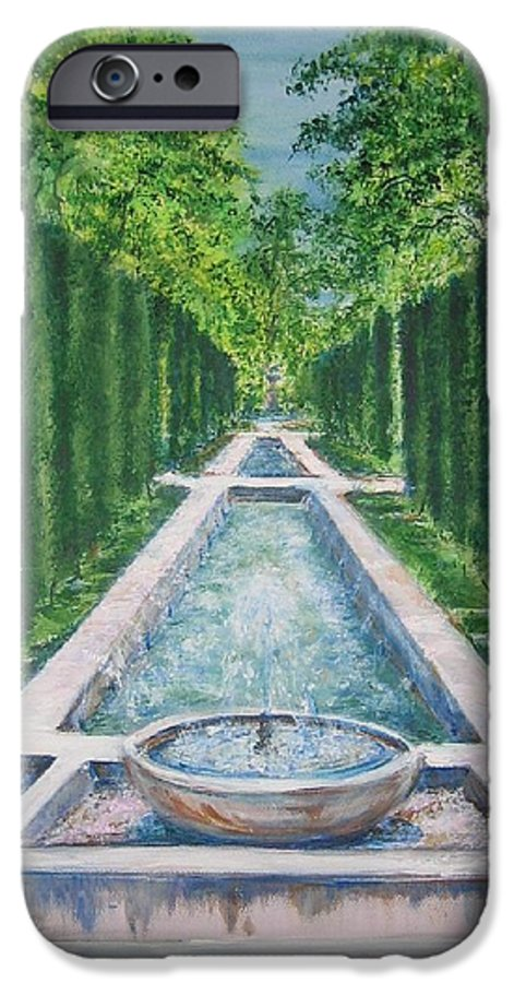 Fountain IPhone 6 Case featuring the painting Fountain Palma De Mallorca Capital by Lizzy Forrester