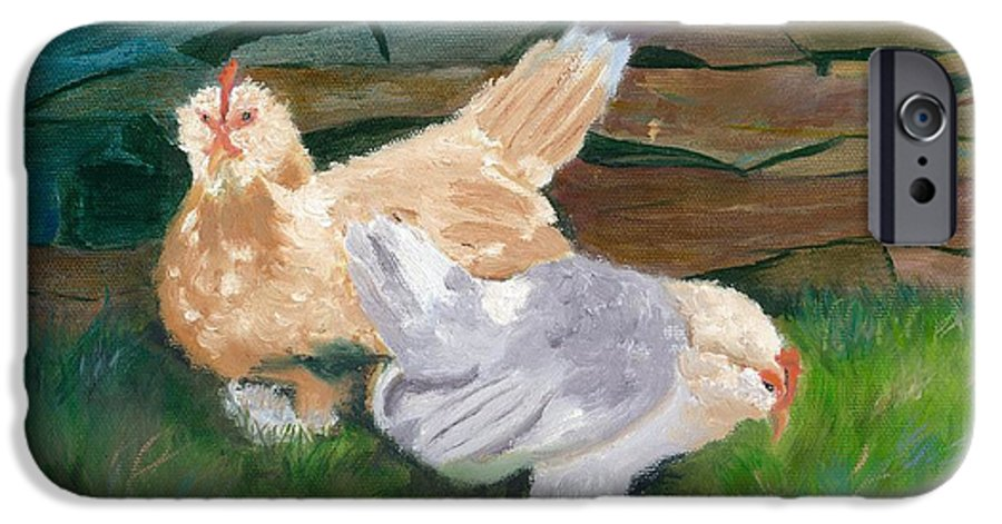Chickens Bantams Countryside Stonewall Farm IPhone 6 Case featuring the painting Fowl Play by Paula Emery