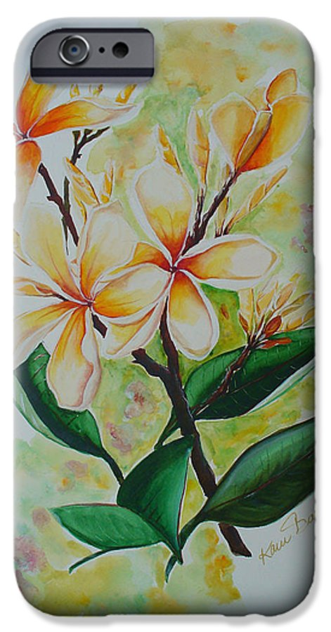 IPhone 6 Case featuring the painting Frangipangi by Karin Dawn Kelshall- Best