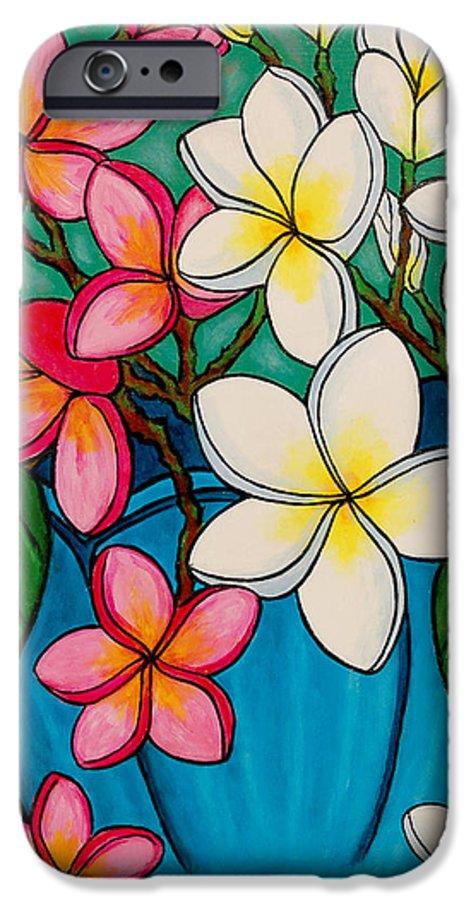 Frangipani IPhone 6 Case featuring the painting Frangipani Sawadee by Lisa Lorenz