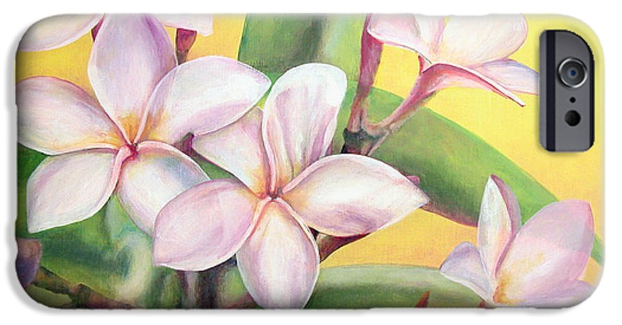 Floral Painting IPhone 6 Case featuring the painting Frangipanier by Muriel Dolemieux