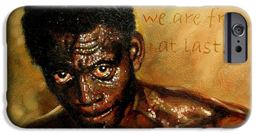 People IPhone 6 Case featuring the painting Free At Last by John Lautermilch
