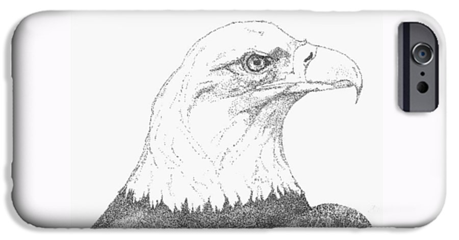 Eagle IPhone 6 Case featuring the drawing Freedom by Debra Sandstrom