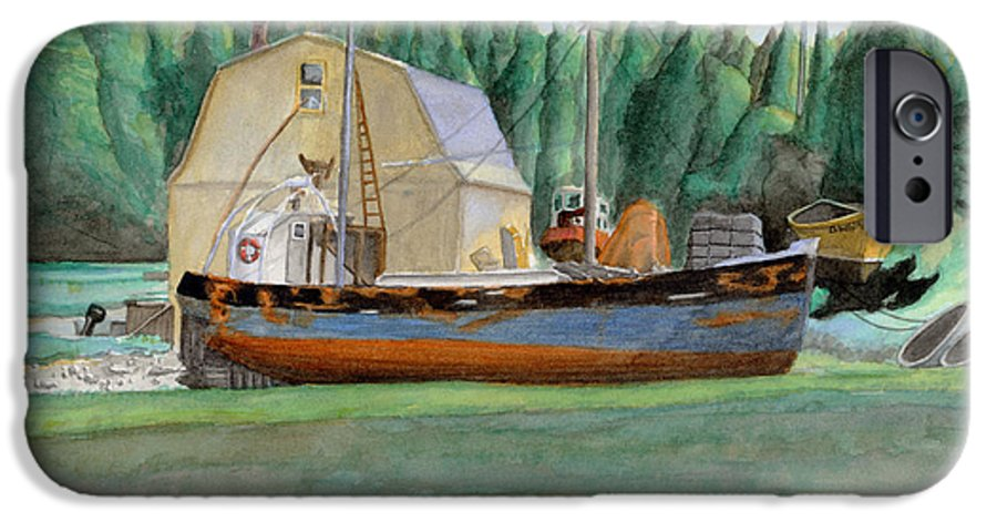 Fishing Boat IPhone 6 Case featuring the painting Freeport Fishing Boat by Dominic White