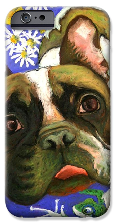 Pet Portrait IPhone 6 Case featuring the painting Frenchie Plays With Frogs by Minaz Jantz