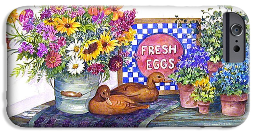 Watercolor;ducks;decoys;floral;mixed Bouquet;potted Plants;checkerboard;quilt; IPhone 6 Case featuring the painting Fresh Eggs by Lois Mountz