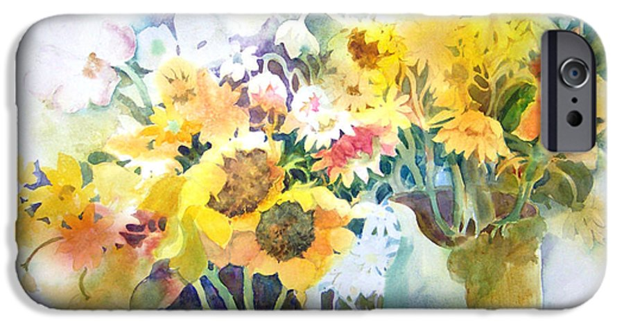 Contemporary;watercolor;sunflowers;daisies;floral; IPhone 6 Case featuring the painting Fresh-picked by Lois Mountz