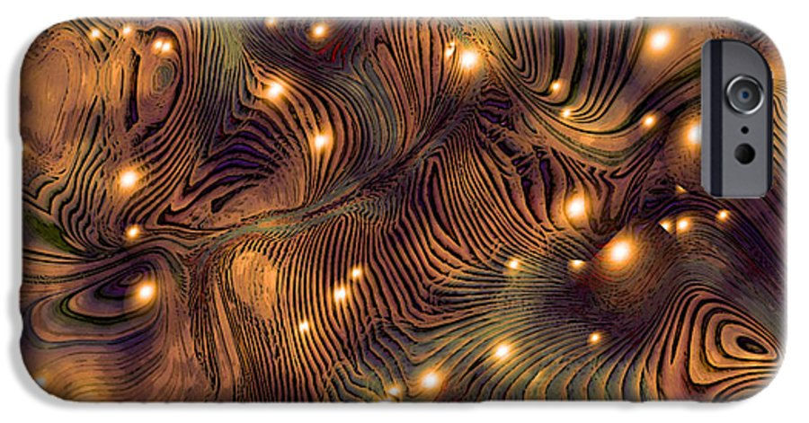Abstract Digital Art Painting Brown Gold Freshwater Fish Lights Texture IPhone 6 Case featuring the painting Freshwater by Susan Epps Oliver