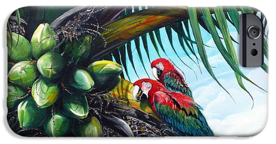 Macaws Bird Painting Coconut Palm Tree Painting Parrots Caribbean Painting Tropical Painting Coconuts Painting Palm Tree Greeting Card Painting IPhone 6 Case featuring the painting Friends Of A Feather by Karin Dawn Kelshall- Best