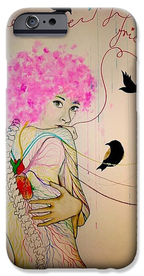 Bird Heart Veins IPhone 6 Case featuring the drawing Friends With Birds by Freja Friborg