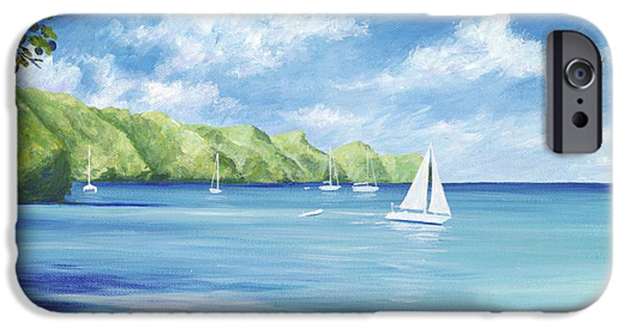 Nautical Seascape IPhone 6 Case featuring the painting Friendship Bay by Danielle Perry