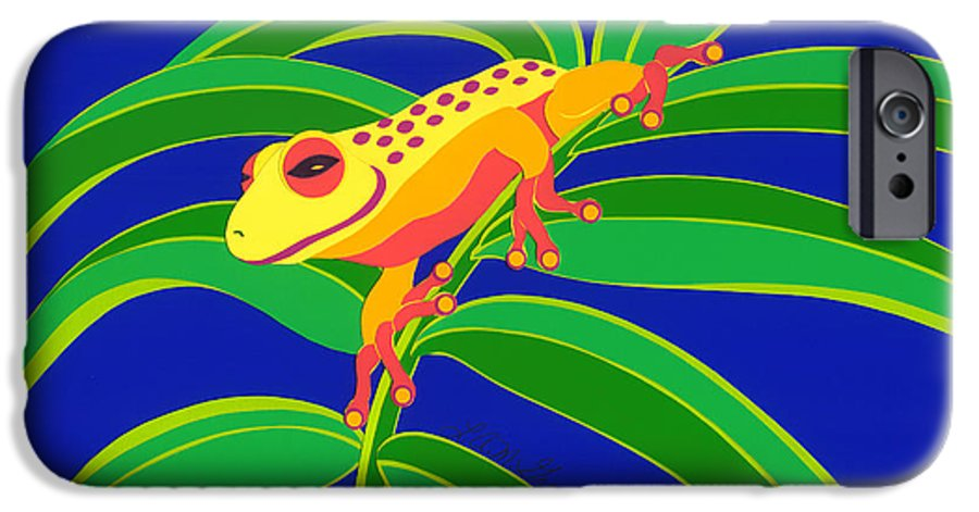 Nature IPhone 6 Case featuring the drawing Frog On Branch by Lucyna A M Green