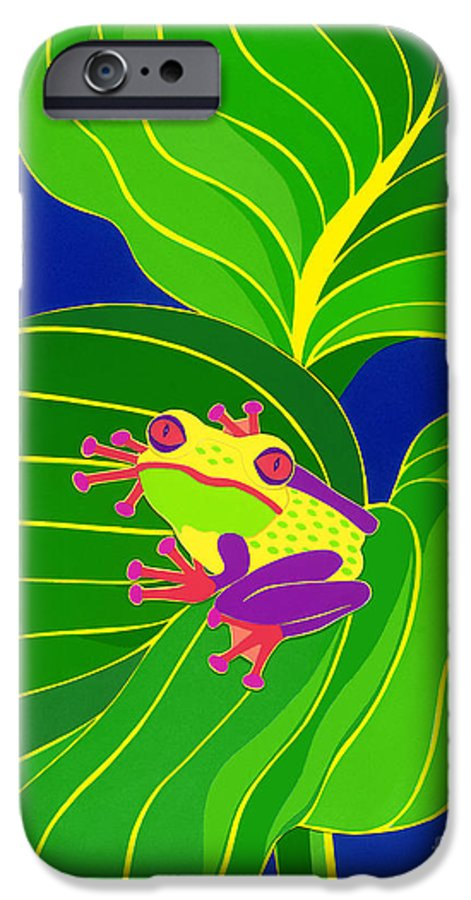 Nature IPhone 6 Case featuring the drawing Frog On Leaf by Lucyna A M Green