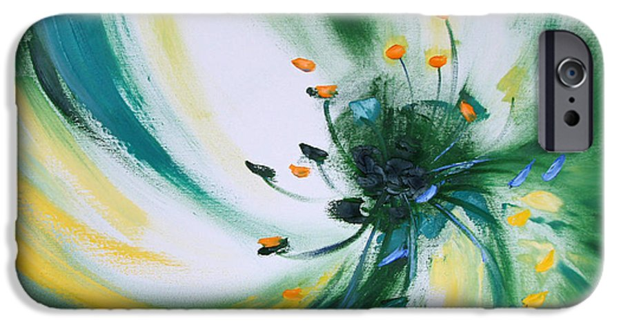 Green IPhone 6 Case featuring the painting From The Heart Of A Flower Green by Gina De Gorna