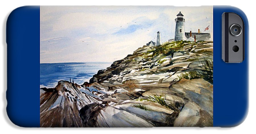 Pemaquid Light House;rocks;ocean;maine;pemaquid;light;lighthouse; IPhone 6 Case featuring the painting From The Rocks Below by Lois Mountz